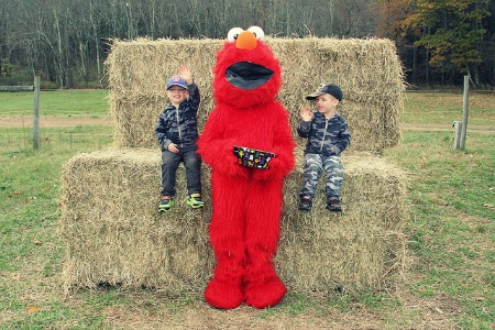 Elmo likes to share his candy.