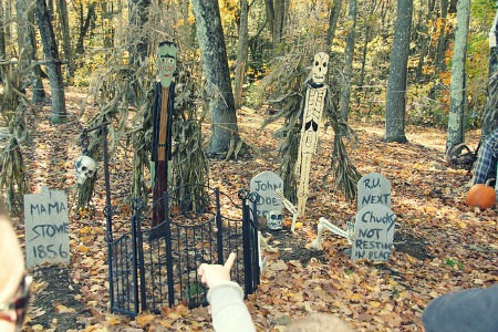 A creepy graveyard in our woods.